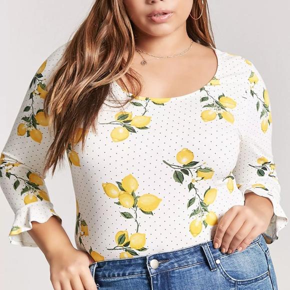6ba5d695597 Forever 21 Plus NWT Lemon Print Body Suit